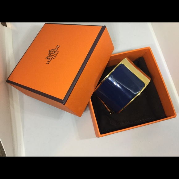 Hermes Jewelry   Clic Clac H Bracelet Dark Blue Gold   Poshmark 29e9b61a4b9